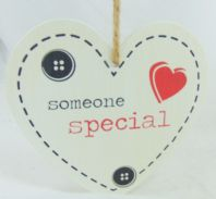 'SOMEONE SPECIAL' HEART SHAPED WOODEN SHABBY CHIC PLAQUE SIGN GIFT